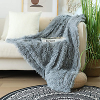 """Soft Faux Fur Throw Blanket 50"""" x 60"""",Solid Lightweight Fuzzy Reversible Long Ha"""