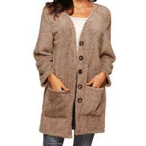 Casual Knit Button Long Sleeve Cashmere Thick Warm Hooded Cardigan Coat Womens Hoodie Coat Winter Warm Outwear Hooded Pockets Sweatshirts Outerwear Coats
