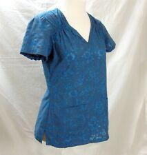 Koi Scrubs Scrub Top Size S Small Kathy Peterson Blue Embroidered Floral