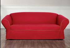 Monaco One Piece SOFA Slipcover red tan Sure Fit sure fit  surefit