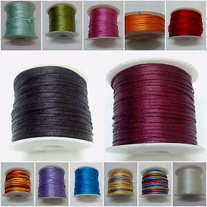 70 Yards Art Silk Rayon Cord Thread Ribbon Crochet Embroidery Jewelry DIY 1.5 mm