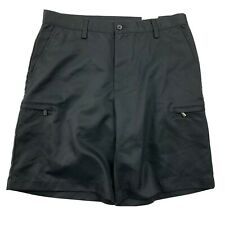 Izod XFG Men's Sz 30 Shorts Flat Front Black Golf Polyester Casual Performance