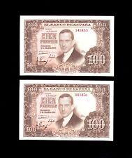 F.C. PAREJA CORRELATIVA 100 PESETAS 1953 , SIN SERIE , S/C .