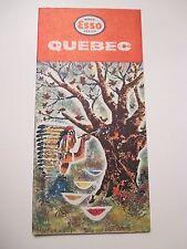 Vintage 1960 ESSO QUEBEC Canada Oil Gas Station Road Map