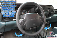 For 1997 Dodge Ram 5.9L Cummins Diesel 12V -Leather Steering Wheel Cover, Black