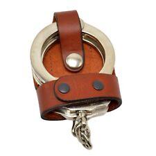 Perfect Fit TAN Leather Bikini Handcuff Case Chrome Snap Belt Slide Cuffs Holder
