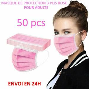Masque de protection rose lot de 50 pcs, Anti-buée livraison gratuite