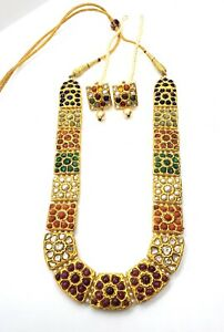 22KT YELLOW GOLD NAVRATTAN NECKLACE WITH EARRING