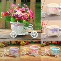 Rattan Flower Basket Vase Tricycle Bicycle Model Garden Wedding Party Decor Bush
