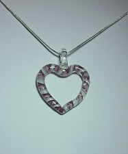 Murano Glass Heart Pendant in Pink on 925 Sterling Silver Necklace