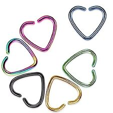 2 PC 16G TITANIUM HEART CLIP HOOP ON EAR CARTILAGE NOSE SEPTUM TRAGUS HELIX RING