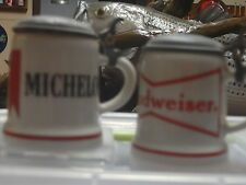 BUDWEISES & MICHELOB LIDDED MINI STEINS MINT RARE AND VERY HARD TO FIND