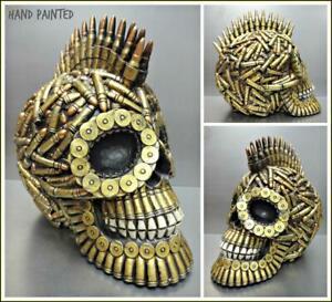 AR15 Bullets Ammo Mohawk SKULL Skeleton HEAD Sculpture Figurine Halloween Decor