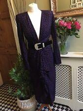 ZARA Purple/Black Polka Dot Midi Dress Split Plunge Neck MEDIUM BNWT BloggerRare