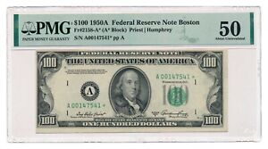 UNITED STATES banknote $100 1950A Boston STAR NOTE PMG AU 50