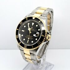 Rolex Submariner 16613 Box and Papers 2007, SEL, Gold Clasp, No Hole, Black
