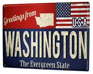 Tin Sign XXL Globetrotter Washington U.S.A.