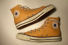 Vintage Converse All Star Made In USA Orange Leather Hi Top Shoes 4.5 IRREGULAR