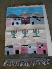 "Southwest hand woven Wall Folk ART Storyboard Pueblos, Cactus, hills 27' x 40"""