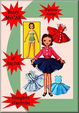 "#2097 - 16"" Betsy McCall Rag Doll Sewing Pattern & Wardrobe Vintage"