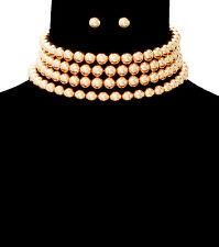 """gold coil wrap faux pearl choker collar 4 row necklace .30"""" earrings"""