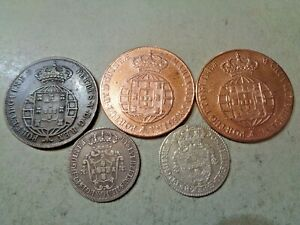 ANGOLA 5 RARE OLD COINS LOT ALL DIFFERENTS