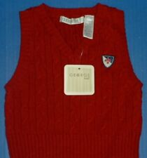 George Kids Boys Cranberry Red Cable Holiday Vest Sweater Decal 12M