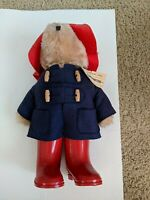 Vintage Paddington Bear Eden Toys 1975 Red Rain boots blue coat