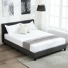 Full Size Bed Frame Upholstered Platform Linen with Wood Slats Headboard Gray