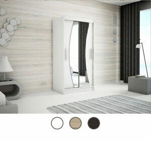 BASS 100 120 Kleiderschrank mit Spiegel Schwebetürenschrank Weiß Sonoma Wenge