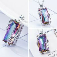 Mystic Rainbow Topaz 925 Silver Square Pendant Chain Chocker Necklace Party Prom