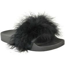 Womens Fluffy Feather Faux Fur Sliders Slides Casual Slip Mules Slippers Sandals