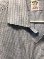 Brooks Brothers 1818 Regent Non Iron Blue Check Cotton Dress Shirt 16.5 33