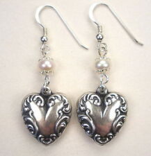 Silver Puffy Heart Earrings Vintage Style Charm Jewelry w/ Genuine Pearls