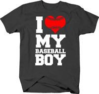 I Love My Baseball Boy for Proud Sports Parents Mom Dad Tshirt