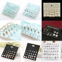 Fashion Rhinestone Crystal Pearl Earrings Set Women Ear Stud Jewelry Set Lots