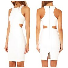 NWT $365 ELIZABETH AND JAMES White LELA Cut-Out Panels RACERBACK Sheath Dress 0