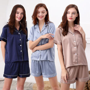 Womens Ladies Satin Pyjama Set Silky Summer Lounge wear Pajamas Short sleeve pjs