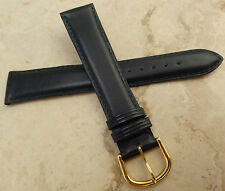 New Made in France Genuine Leather Green 18mm Watch Band Gold Tone Buckle $19.95