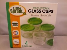 Glass Baby Food Storage Containers (4 Pack) - 2oz Container Includes Lids, St...