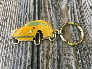 Vintage Yellow Volkswagen Beetle Metal Keychain (Circa Mid 1980's)