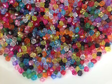 250pc Colourful Transparent Faceted Bicone Acrylic Beads 4mm