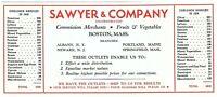 Sawyer & Company Commission Merchants Fruits & Vegetables Vintage Blotter 1930s