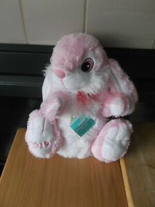 """2019 Dan Dee Hoppy Hopster Easter Bunny Pink/White Fluffy Soft 13"""" Plush"""