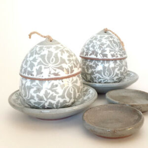 Korean infuser cup set, Booncheong, set of 2, traditional pattern and technic