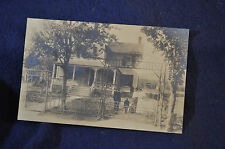 Ca 1905 RPPC Family of Four in Front of Their House with Great Fence