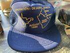 VINTAGE OPERATION DESERT SHIELD USA Military Collectible Snapback Dark Blue Hat