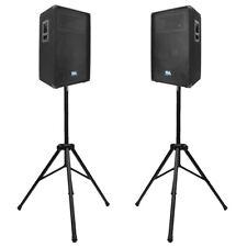 Seismic Audio PAIR 15 inch PA DJ  Speakers w/ 2 Tripod Speaker Stands