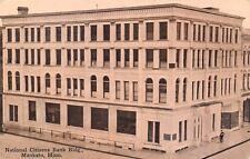 Mankato Minnesota~National Citizens Bank Building~Man on Street~1912 Postcard