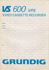 Grundig-vs 600 VPS-istruzioni d'uso per Video Recorder-b5992